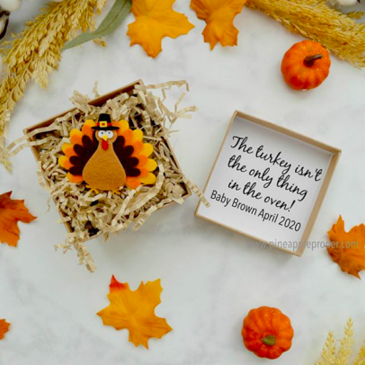 The Turkey isn/'t the only thing in the oven Pregnancy announcement Thanksgiving Fall season onesie